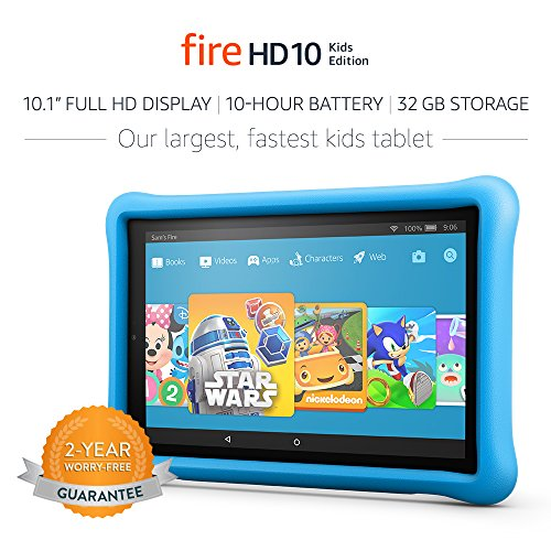 "All-New Fire HD 10 Kids Edition Tablet, 10.1"" 1080p Full HD Display, 32 GB, Blue Kid-Proof Case"