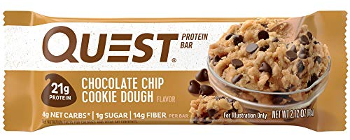 Quest Nutrition Protein Bar, Chocolate Chip Cookie Dough, High Protein Bars, Low Carb Bars, Gluten Free, Soy Free, 2.1 oz Bar, 12 Count, Packaging May Vary