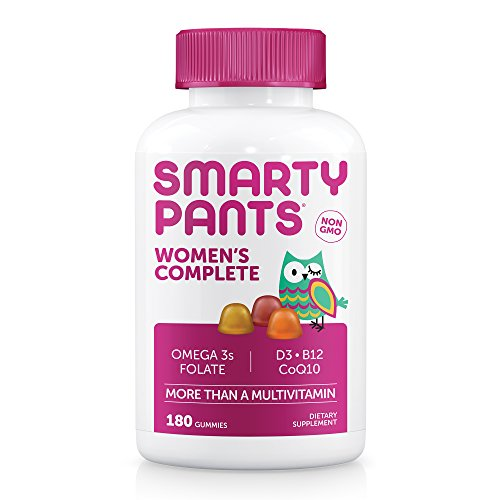 SmartyPants Women's Complete Gummy Vitamins: Gluten Free, Multivitamin, CoQ10, Folate (Methylfolate), Vitamin K2, Vitamin D3, Biotin, Methyl B12, Omega 3 DHA/EPA Fish Oil, 180 count (30 Day Supply)