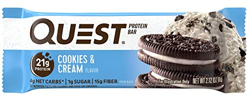 Quest Nutrition Protein Bar, Cookies & Cream, 21g Protein, 4g Net Carbs, 200 Cals, High Protein Bars, Low Carb Bars, Gluten Free, Soy Free, 2.1 oz Bar, 12 Count