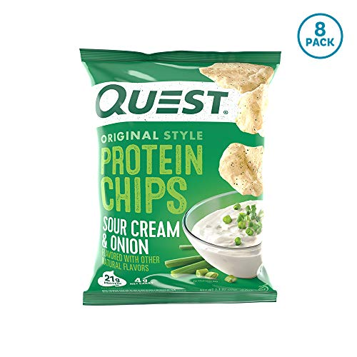 Quest Nutrition Protein Chips, Sour Cream & Onion, 21g Protein, 4g Net Carbs, 130 Cals, Low Carb, Gluten Free, Soy Free, Potato Free, Baked, 1.1oz Bag, 8 Count, Packaging May Vary