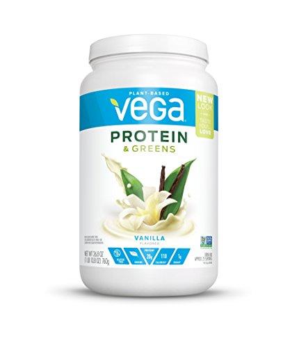 New Vega Protein & Greens Vanilla (25 Servings, 26.8 oz tub) - Plant Based Protein Powder, Gluten Free, Non Dairy, Vegan, Non Soy, Non GMO