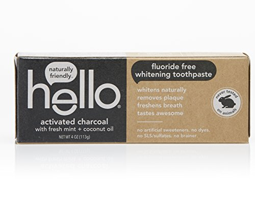 Hello Oral Care Activated Charcoal Teeth Whitening Fluoride Free Toothpaste, 4 Ounce