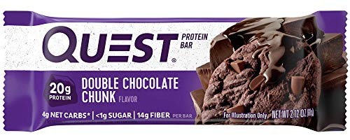 Quest Nutrition Protein Bar, Double Chocolate Chunk, 20g Protein, 4g Net Carbs, 180 Cals, High Protein Bars, Low Carb Bars, Gluten Free, Soy Free, 2.1 oz Bar, 12 Count(Packaging may vary)