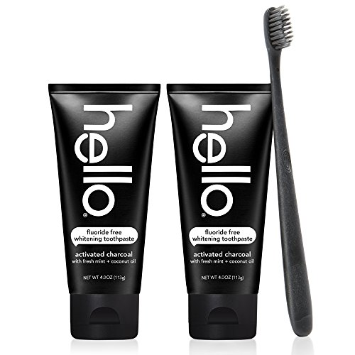 Hello Oral Care Activated Charcoal Fluoride Free Whitening Toothpaste Twin Pack with Black BPA-Free Toothbrush