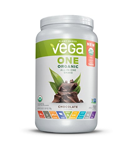 Vega One Organic All-in-One Shake Chocolate (17 servings, 1.6 lb) - Plant Based Vegan Protein Powder, Non Dairy, Gluten Free, Non GMO