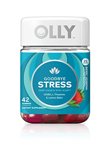 OLLY Goodbye Stress Gummy Supplement with GABA L-THEANINE & Lemon Balm, Berry Verbena, 42 Gummies (21 Day Supply) (Packaging May Vary)