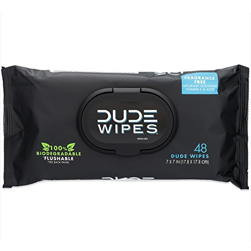DUDE Wipes Flushable Wet Wipes 48 Count Dispenser, Unscented Wet Wipes with Vitamin-E & Aloe for at-Home Use, Septic and Sewer Safe