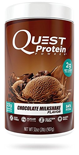 Quest Nutrition Chocolate Milkshake Protein Powder, High Protein, Low Carb, Gluten Free, Soy Free, 2lb Tub