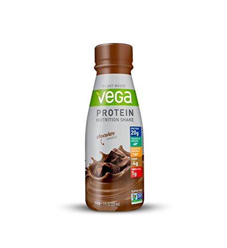 Vega Protein Nutrition Shake Chocolate 11floz (Pack Of 12)  - Ready to Drink, Plant Based Vegan Protein, Gluten Free, Non Dairy, Soy Free, Vitamins, Non GMO