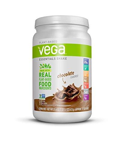 Vega Essentials Shake Chocolate(17 Servings, 21.6 oz.) - Plant Based Vegan Protein Powder, Non Dairy, Gluten Free, Smooth and Creamy, Non GMO