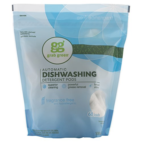 Grab Green Naturally-Derived, Plant & Mineral-Based Automatic Dishwasher Detergent, Fragrance Free, 60 Loads