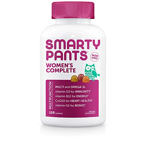 SmartyPants Women's Complete Daily Gummy Vitamins: Gluten Free, Multivitamin, CoQ10 & Omega 3 Fish Oil (DHA/Epa Fatty Acids), Folate (Methylfolate), Non-GMO, 120 Count (20 Day Supply)
