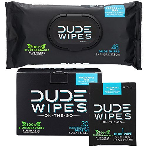 DUDE Wipes Flushable Wet Wipes (48 Count Dispenser and 30 Single Wipes) Individually Wrapped & Dispenser Natural Unscented with Vitamin-E & Aloe