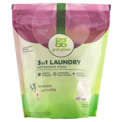 Grab Green Naturally-Derived, Plant & Mineral-Based Laundry Detergent Pods, Lavender with Vanilla, 60 Loads