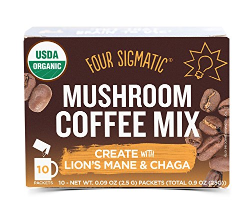 Four Sigmatic Mushroom Coffee - USDA Organic Coffee with Lions Mane and Chaga Mushroom Powder - Productivity, Focus - Vegan, Paleo - 10 Count