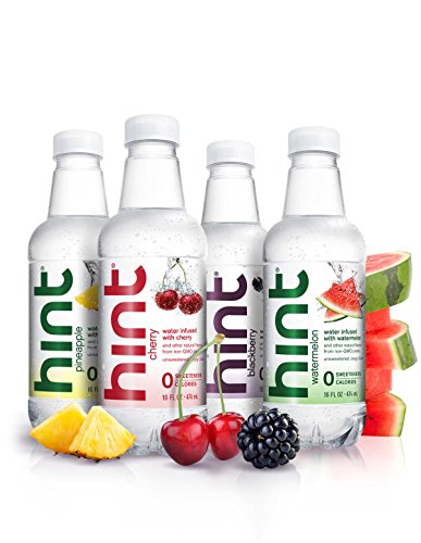 Hint Fruit Infused Water Variety Pack, (Pack of 12) 16 Ounce Bottles, 3 Bottles Each of: Cherry, Watermelon, Pineapple, and Blackberry, Unsweet Water with Zero Diet Sweeteners