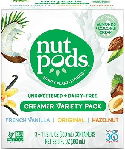 nutpods Variety 3-Pack, Unsweetened Dairy-Free Creamer, Whole30, Paleo, Keto, Non-GMO & Vegan, for Coffee, Tea & Cooking, made from almond and coconut