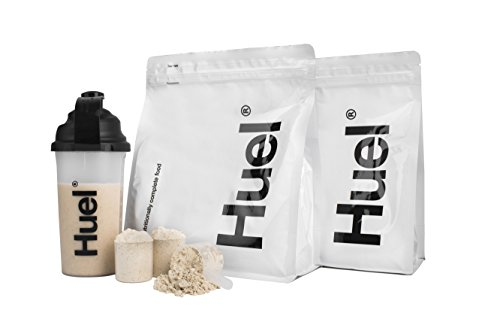Huel Starter Kit - Includes 2 Pouches of Nutritionally Complete 100% Vegan Powdered Meal, Scoop, Shaker and Booklet (7.7lbs of Powder - 28 Meals) (Vanilla)