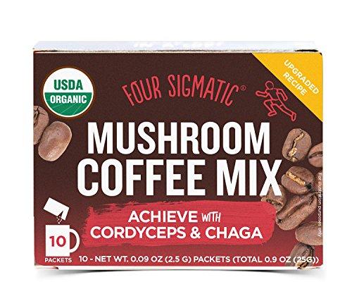 Four Sigmatic Mushroom Coffee - USDA Organic Coffee with Cordyceps and Chaga Mushroom Powder - Energy, Performance - Vegan, Paleo - 10 Count