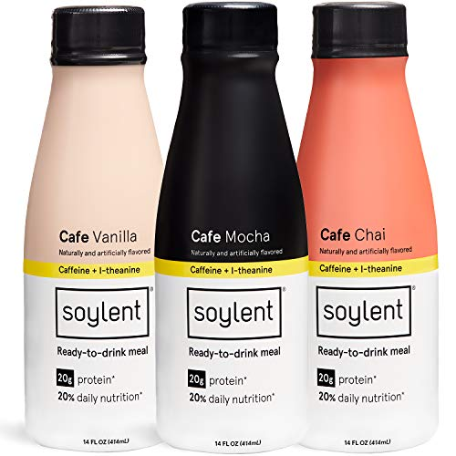 Soylent Meal Replacement Drink, Cafe Variety Pack, 14 oz Bottles, 12 Count (Packaging May Vary)