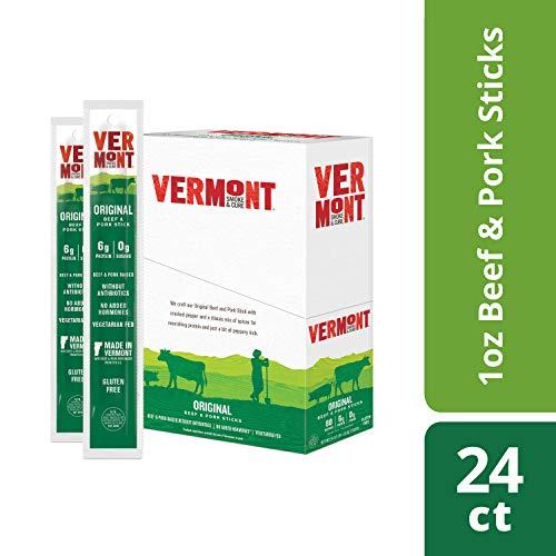 Vermont Smoke & Cure Jerky Sticks, Beef & Pork, Antibiotic Free, Gluten Free, Original, Great Keto Snack, High in Protein, Low Sugar, 1oz Jerky Stick, 24 Count