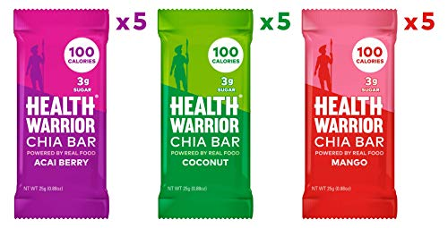 HEALTH WARRIOR Chia Bars, Tropical Variety Pack, Gluten Free, Vegan, 25g bars, 15 Count