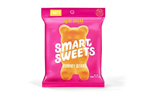 SmartSweets Gummy Bears Fruity 1.8 oz bags (box of 12), Candy with Low-Sugar (3g) and Low-Calories (90)- Free of Sugar Alcohols and No Artificial Sweeteners, Sweetened with Stevia