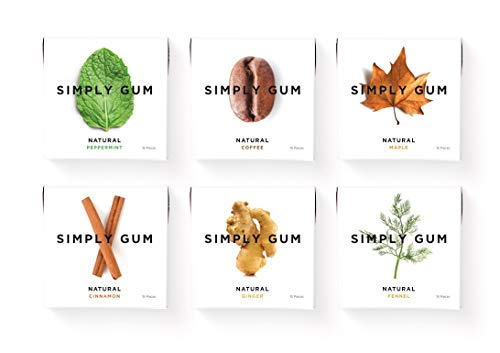 Simply Gum, Assorted Chewing Gum (Mint, Cinnamon, Ginger, Fennel, Maple, Coffee) Vegan, Non GMO, 15 Pieces, Pack of 6