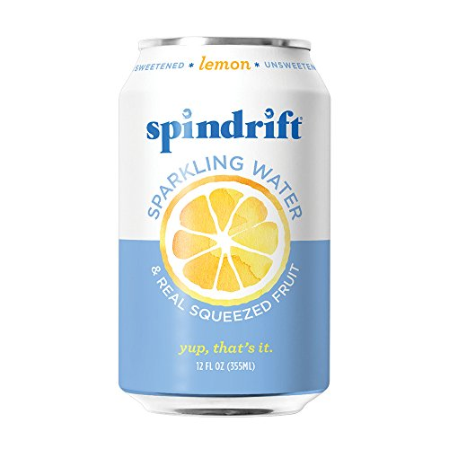 Spindrift Lemon Sparkling Water, 12-Fluid-Ounce Cans, Pack of 24