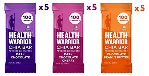 HEALTH WARRIOR Chia Bars, Chocolate Variety Pack, Gluten Free, Vegan, 25g bars, 15 Count