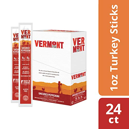 Vermont Smoke & Cure Jerky Sticks, Turkey, Antibiotic Free, Gluten Free, Uncured Pepperoni, Great Keto Snack, High in Protein, Low Sugar, 1oz Stick, 24 Count