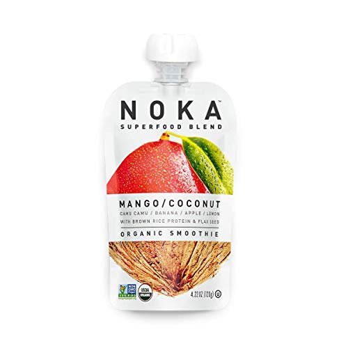NOKA Superfood Smoothies (Mango Coconut) | 100% Organic Fruit And Veggie Smoothie Squeeze Pouches | No Added Sugar, Non GMO, Gluten Free, Vegan, 5g Plant Protein | 4.2oz Each - Pack of 6