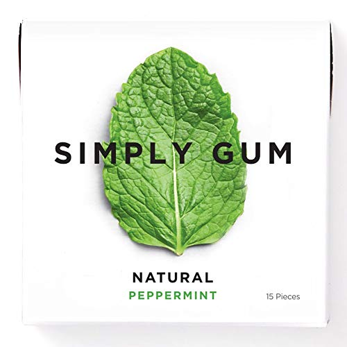 Simply Gum, Peppermint Chewing Gum, Vegan, Non GMO, 15 Pieces, Pack of 6