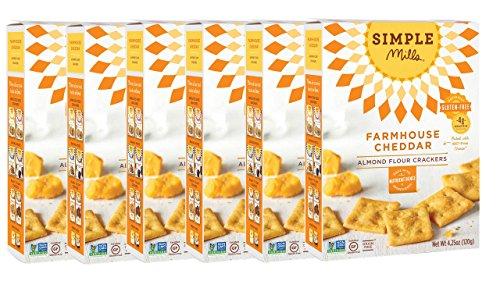 Simple Mills Almond Flour Crackers, Farmhouse Cheddar, Naturally Gluten Free, 4.25 oz, 6 count