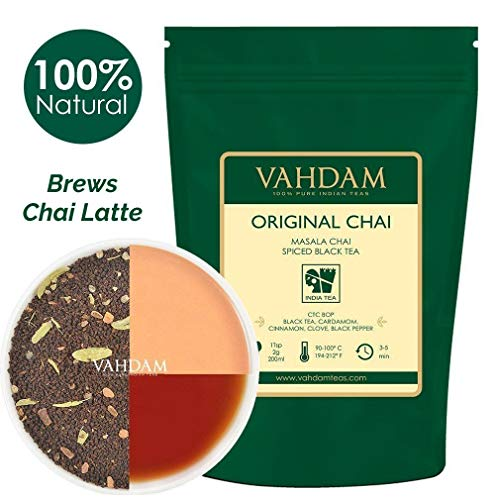 India's Original Masala Chai Tea Loose Leaf (200+ Cups) | 100% NATURAL INGREDIENTS | Black Tea, Cinnamon, Cardamom, Cloves & Black Pepper | Brews Chai Latte | Ancient Indian House Recipe | 16oz Bag