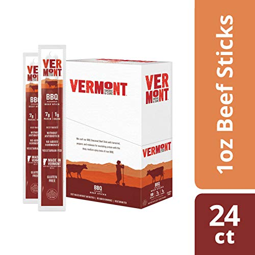 Vermont Smoke & Cure Meat Sticks, Beef, Antibiotic Free, Gluten Free, BBQ, Great Keto Snack, High in Protein, Low Sugar, 1oz Stick, 24 Count