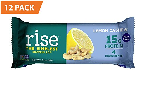 Rise Bar Non-GMO, Gluten Free, Vegan, Paleo, Plant Based Protein Bar made with Pea Protein Isolate (15g), No Added Sugar, Lemon Cashew High Protein Bar with Fiber & Vitamins 2.1oz, (12 Count)