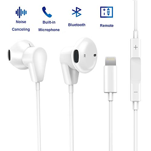 Bluetooth Earphones Headphones with Microphone, Fourcase Earbuds Wired Headset with Remote Control Stereo Noise Canceling Sweatproof Compatible with Phone 7/8/X
