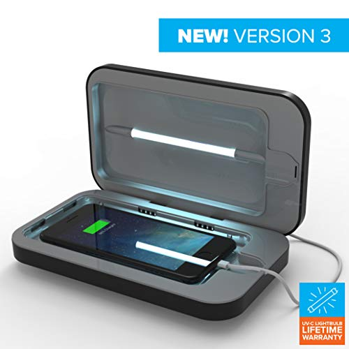 PhoneSoap 3 UV Cell Phone Sanitizer and Dual Universal Cell Phone Charger | Patented and Clinically Proven UV Light Sanitizer | Cleans and Charges All Phones - Black