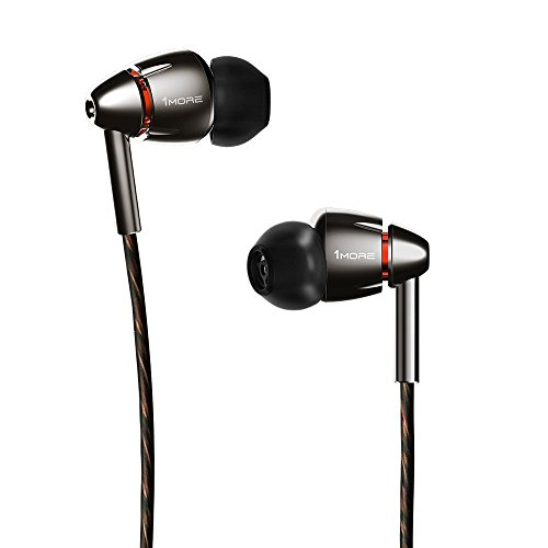 1MORE Quad Driver in-Ear Earphones Hi-Res High Fidelity Headphones Warm Bass, Spacious Reproduction, High Resolution, Mic in-Line Remote Smartphones/PC/Tablet - Silver/Gray