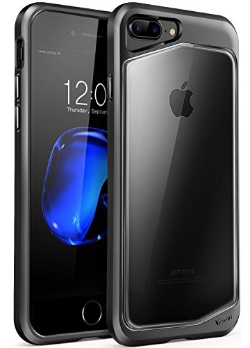 iPhone 8 plus Case, iPhone 7 plus Case, Clear Scratch Resistant Transparent Back Cover  with  TPU Rubber Shock Bumper for iPhone 8 plus & iPhone 7 plus  Air Space Shockproof -Black