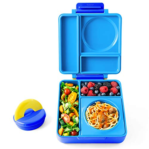 OmieBox - Leak-Proof 3-Compartment Bento Lunch Box For Kids - Includes Insulated Food Thermos - Two Temperature Zones For Hot & Cold Food