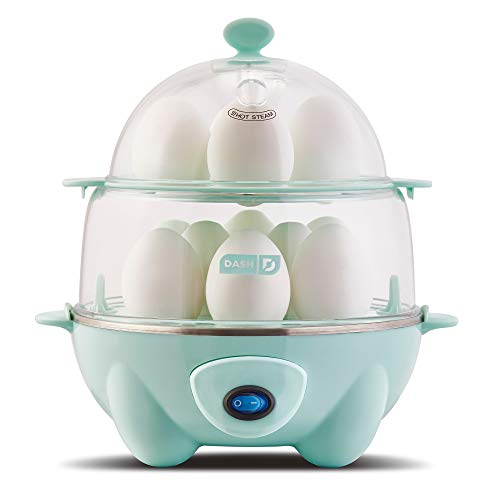 Dash Deluxe Rapid Egg Cooker: 12 Egg Capacity Electric Egg Cooker for Hard Boiled Eggs, Poached Eggs, Scrambled Eggs, Omelets, Steamed Vegetables, Seafood, Dumplings & More w/Auto Shut Off Feature