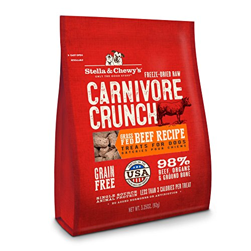 Stella & Chewy'S Freeze-Dried Raw Carnivore Crunch Grass-Fed Beef Recipe Grain-Free Dog Treats, 3.25 Oz Bag