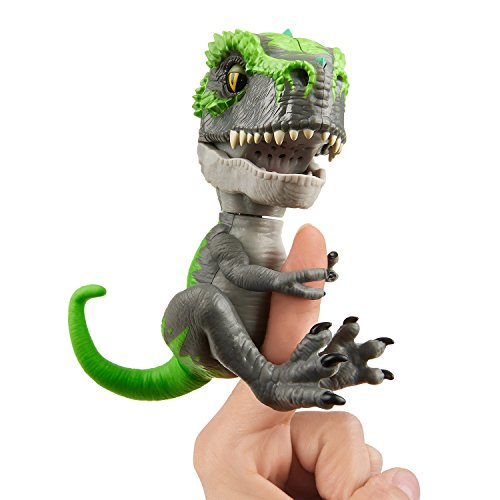 Untamed T-Rex by Fingerlings  - Tracker (Black/Green) - Interactive Collectible Dinosaur - By WowWee