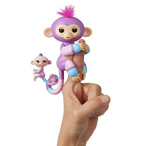 WowWee Fingerlings Baby Monkey & Mini BFFs Violet and Hope (Blue), Mauve