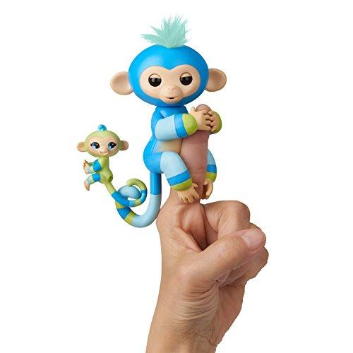 WowWee Fingerlings Baby Monkey & Mini BFFs Billie & Aiden Finger Puppets, Blue Green