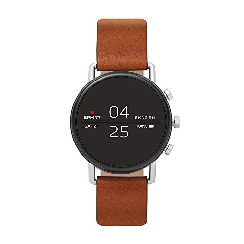 Skagen Connected Falster 2 Stainless Steel and Leather Touchscreen Smartwatch, Color: Silver, Brown (Model: SKT5104)