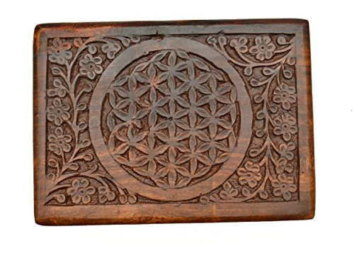 The New Age Source Carved Wood Box Flower of Life